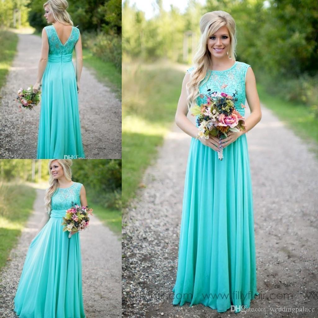 2018 New Arrival Turquoise Bridesmaid Dresses Cheap Scoop Neckline ...
