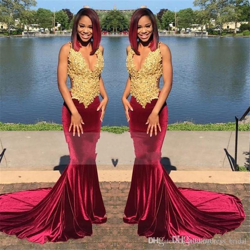 Wedding Gowns For Dark Skin: Satın Al Mermaid Stil Gelinlik Modelleri 2019 Seksi Derin