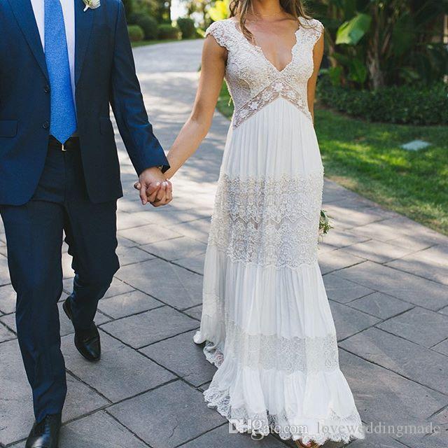 2019 Lihi Hod Bohemia Spitze Applique Brautkleider Sheer Deep V Neck Backless Land Brautkleid Graceful