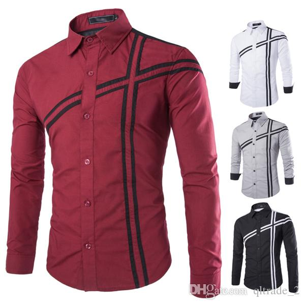 2016 autumn mens long-sleeved dress shirt hit the color simple long-sleeved casual shirt