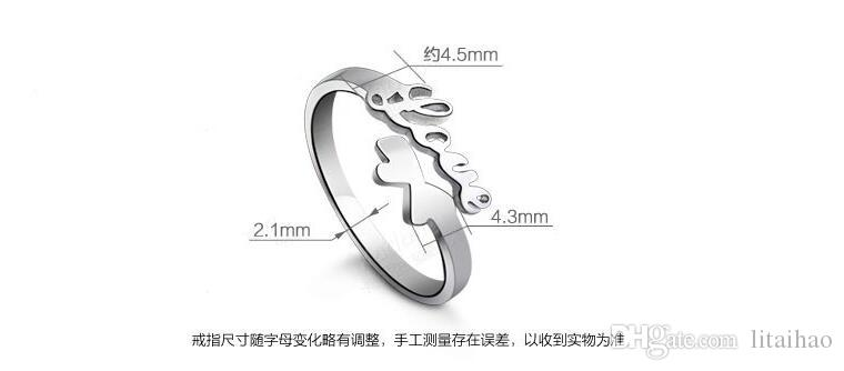 """Hot! """"Love"""" Word 925 sterling silver Ring Open adjustable size Don't fade Factory direct selling high quality Wedding Ring Birthday Gift box"""