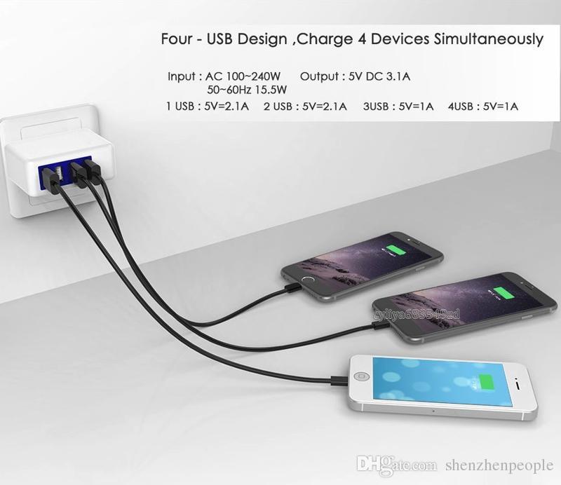 3.1A 15W haute vitesse 4 ports USB chargeur mural portatif chargeur adaptateur secteur avec prise pliante pour téléphone intelligent téléphone cellulaire téléphone Android