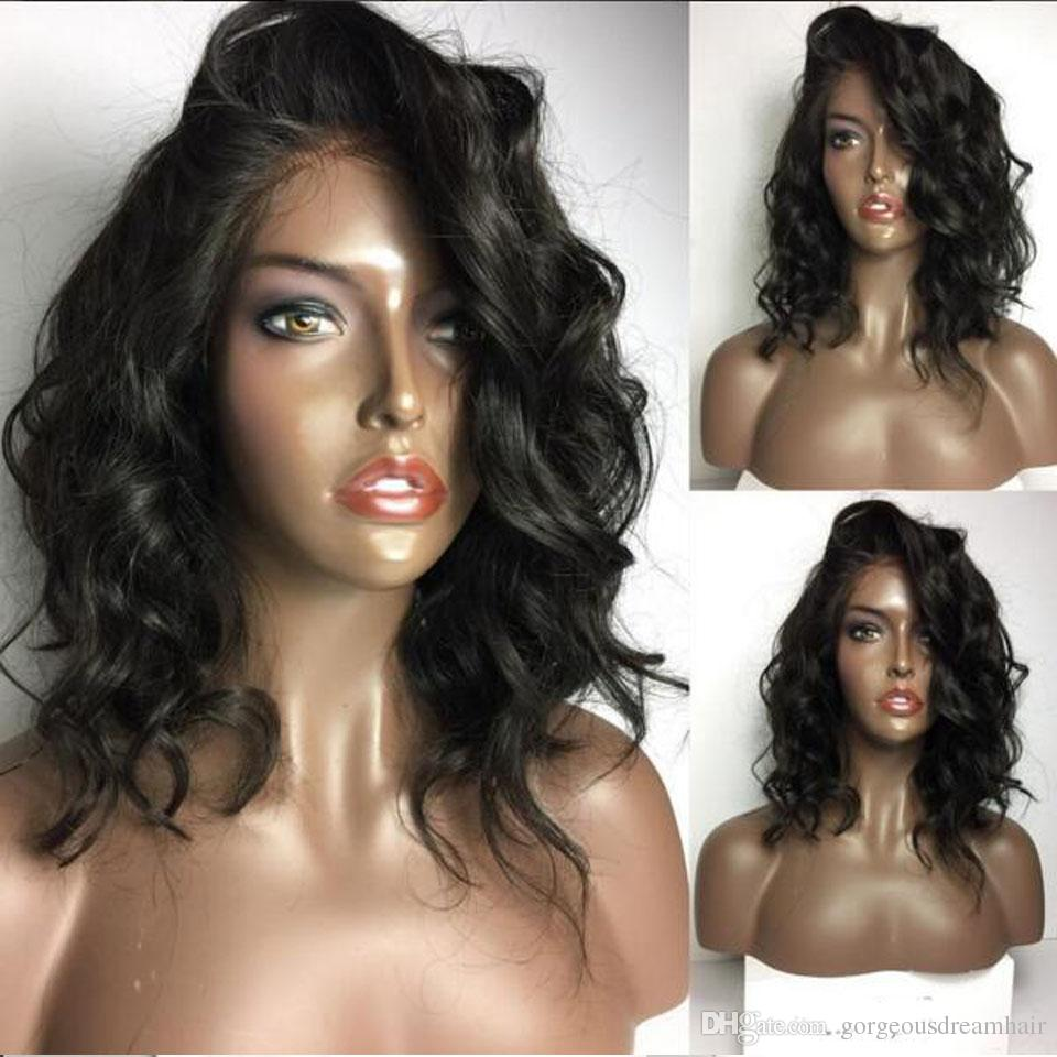 Short Brazilian Virgin Hair Wigs For Black Women Natural Color Wavy Human Hair Wigs Bob Style Glueless Full Lace Wig With Baby Hair