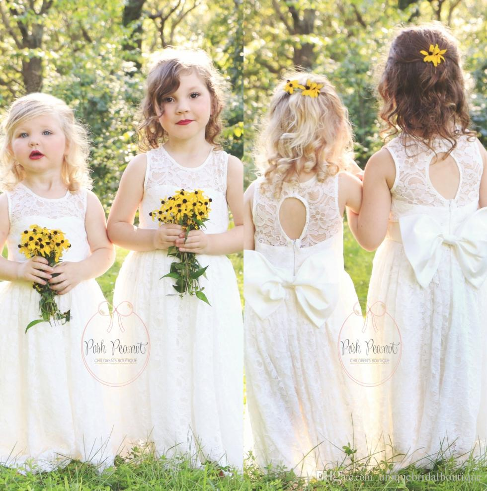 Cute Flower Girl Dresses Simple Lace With Big Bow Back 2018 Long