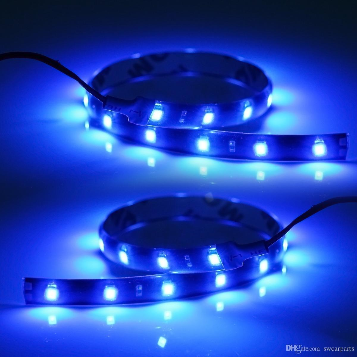 30cm blue lights flexible led strip light ribbon waterproof smd 15 led shakeproof auto. Black Bedroom Furniture Sets. Home Design Ideas