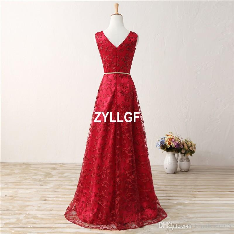 Red Flowers Pattern High Quality V-neck Zipper Back Floor-Length Evening Dresses Plus size New Arrival Hot Dress Formal Gown Robe De Soiree