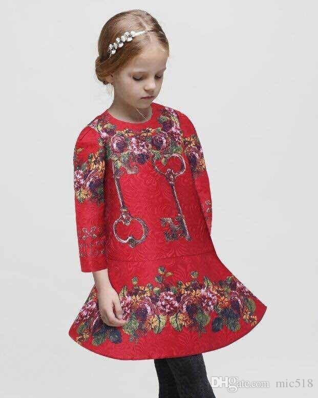 WLMONSON Jacquard 소녀 드레스 2016 새로운 브랜드 소녀 우아한 드레스 꽃 프린트 아이 드레스 여자 옷 Dobby Vestidos Infantil