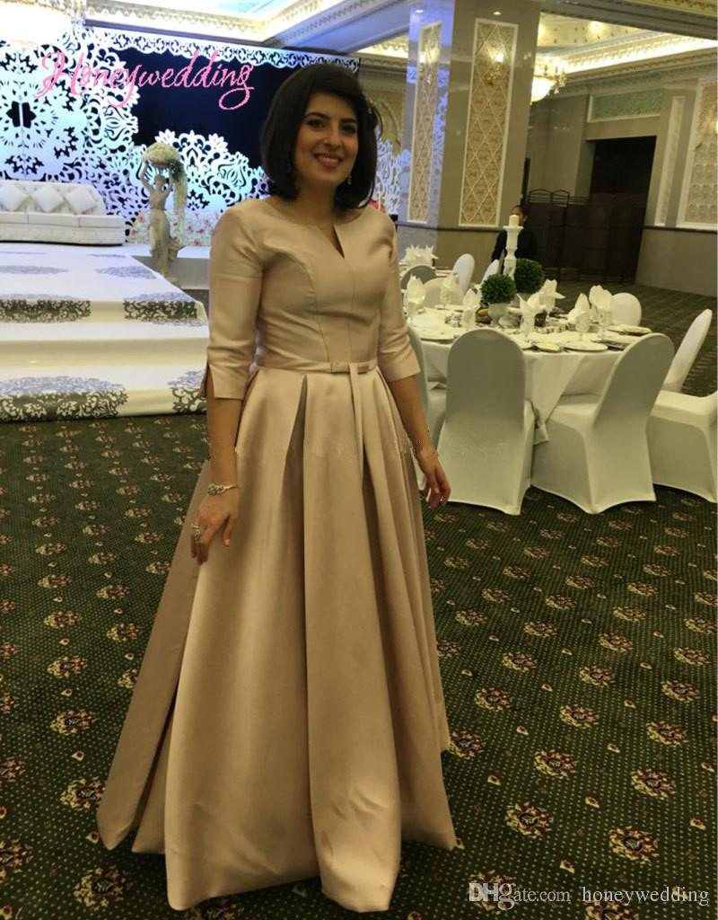 ad2ab7656b Modest Plus Size Evening Gowns 2017 Half Sleeves Ruched Long Prom Dresses  Cheap Custom Women Formal Party Dresses Evening Wear Canada 2019 From  Honeywedding ...