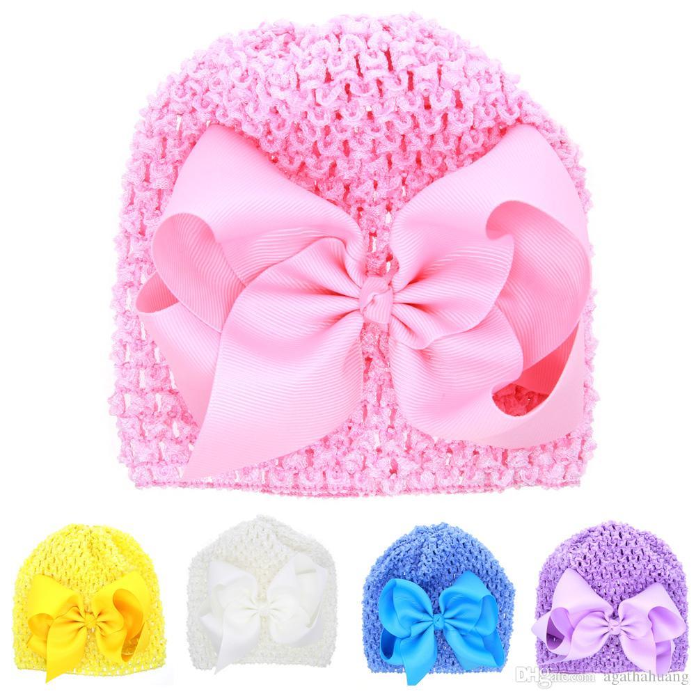 Yenidoğan Bebek Örme Şapka Yay Ile Güzel Kız Pamuk Bere Bebek Yumuşak Örgü maç renk Tığ Bebek Yürüyor Şapka 6 renkler