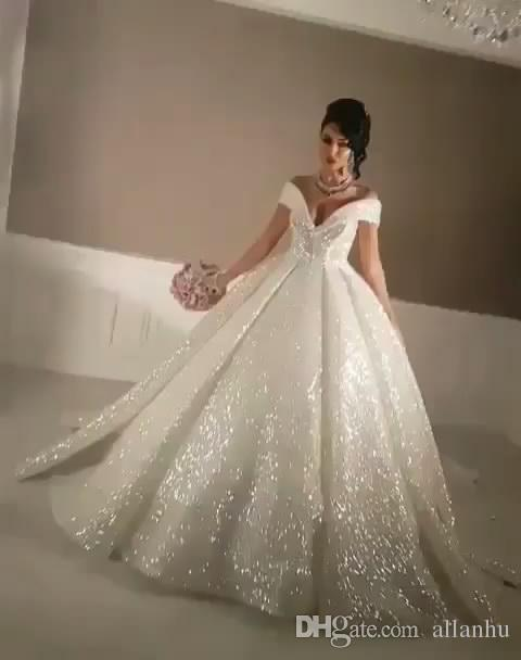 5fbe8b53ef8 Arabic 2018 Bling Ball Gown Wedding Dresses Off Shoulder Sparkly Chapel  Train Glitter Glued Lace Lace Up Sexy Wedding Bridal Gowns Custom Gold  Wedding ...