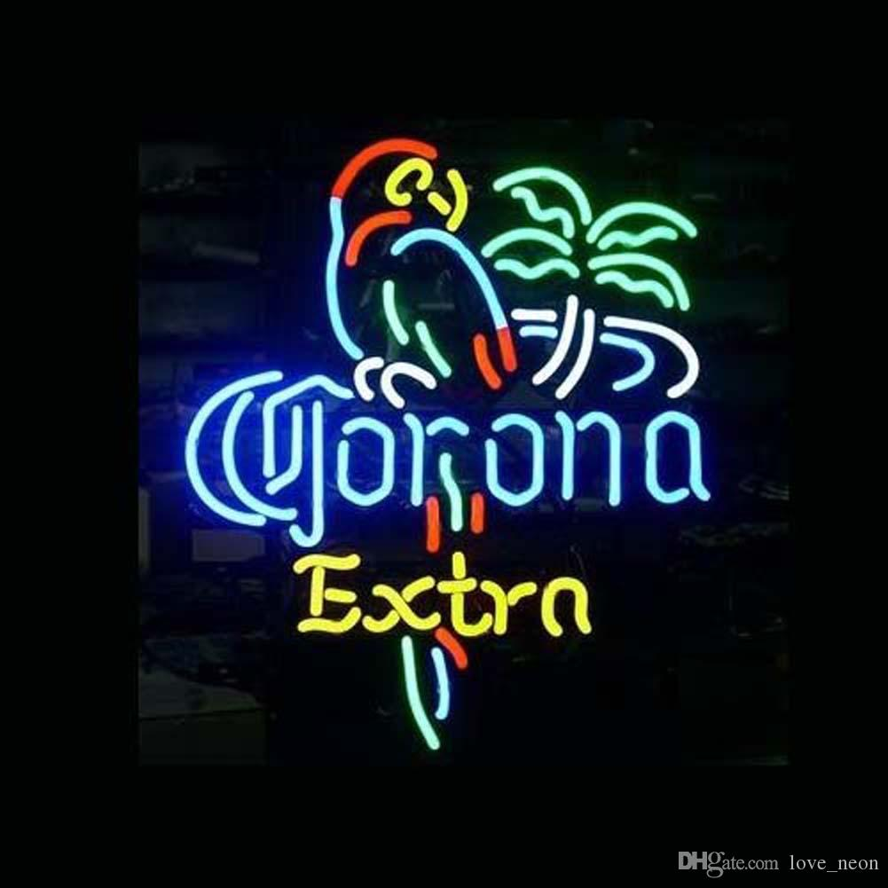 Corona Extra Parrot Bird Left Pallm Tree Beer Bar Pued Handcrafted Real Neon Light Sign