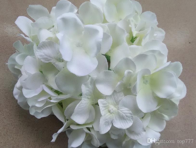 2016 Yapay Çiçekler Noel partisi Moda Düğün Ipek Yapay Ortanca Çiçekler KAFA Beyaz Çapı 15 cm Ev Süsleme Dekorasyon