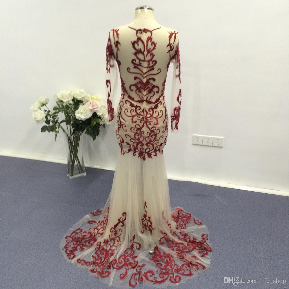 2016 Real Image Bourgogne Robes De Soirée Avec Broche De Cou Broderie Manches Longues Sirène De Bal Robes De Soirée