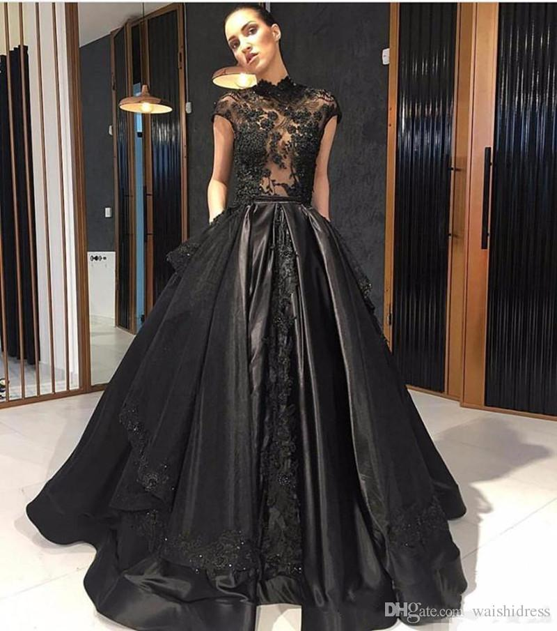 Elie Saab 2018 Black Lace Formal Celebrity Evening Dresses High Neck See Through Red Carpet Prom Party Gowns With Detachable Skirt