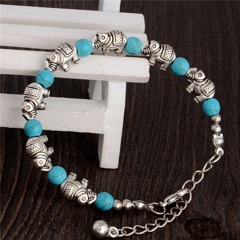 Tturquoise elephant charm bracelets turquoise Beads bracelets fashion jewelry green retro bracelet silver plated TB0003