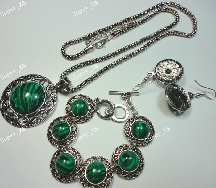 Top Circle Malachite Stone Bracelet Earrings Necklace 3 in 1 Jewelry wholesale Jewelry Sets LR541