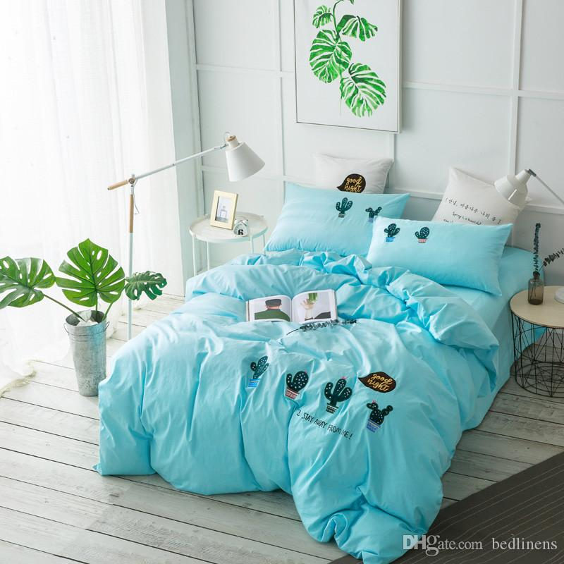 new plant cactus soft comfortable bedding for teen children bed comforters dovet covers pillow sham bed sheet queen king size 100 cotton full size bedding - Cactus Bedding