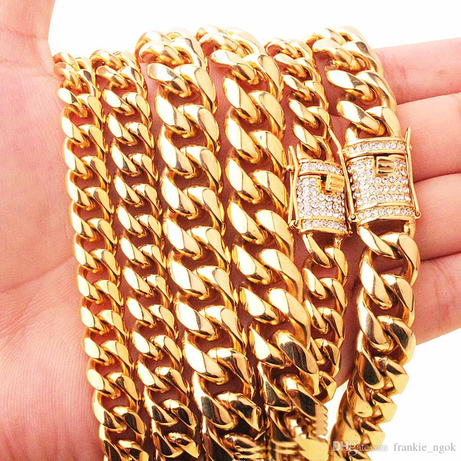 """Stainless Steel 24K Solid Gold Electroplate Casting Clasp & Diamond CUBAN LINK Necklace & Bracelet For Men Curb Chains Jewelry 24""""/28""""/30"""""""