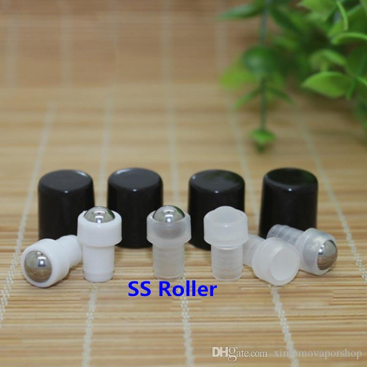2017 1ml Amber Glass Roller Bottles With Metal Ball Black Lids for Essential Oil Aromatherapy Perfumes and Lip Balms Glass Make Up Bottles