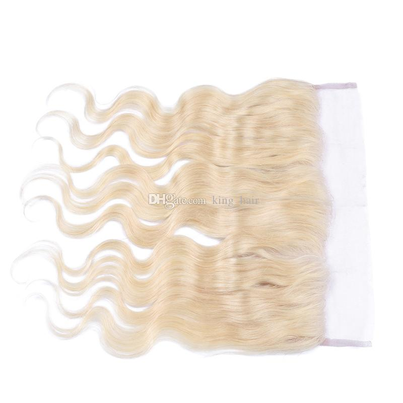 #613 Blonde Lace Frontal Closures 13*4 Russian Human Hair Body Wave Ear to Ear Full Lace Frontal Bleached Knots With Baby Hair