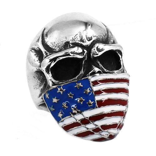 ! American Flag Infidel Skull Ring Stainless Steel Jewelry Classic Vintage Motor Biker Skull Men Ring Wholesale SWR0368BA