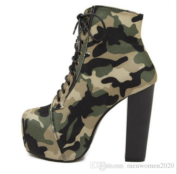 2017 Large Size 35-40 Thin 14cm Bottom High Camouflage Ankle Boots Women Round Toe Platform Nightclub Woman Shoes Retro lace-up