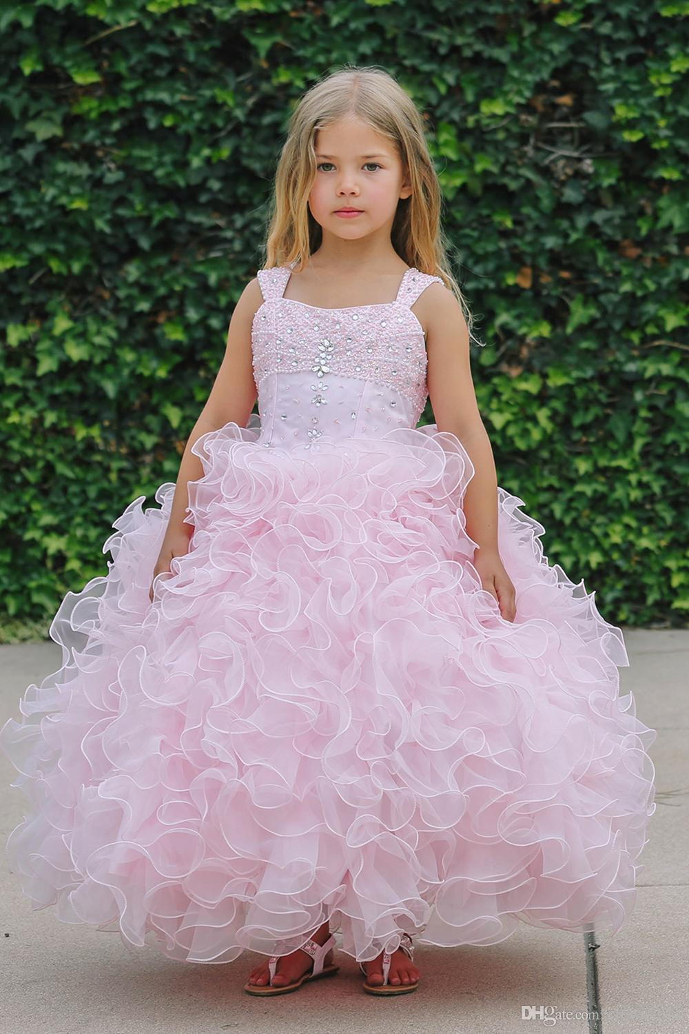 Pink Sleeveless Ruffle Organza Gown Flower Girl Dress with Beaded Bodice Girls Pageant Dresses Ball Gown Little Girl Dress For Weddings