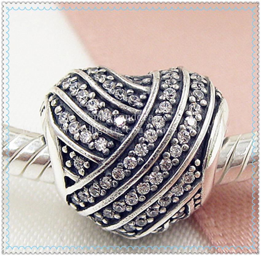 2016 Nueva primavera S925 Sterling Silver Love Lines Charm Bead con Clear Cz adapta a las pulseras de la joyería europea