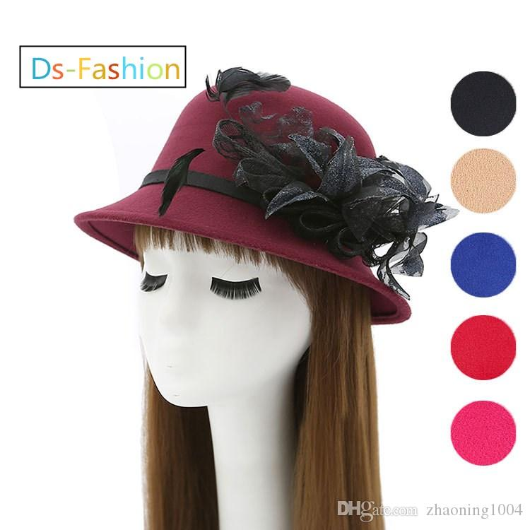 ff56f5dfe5d 2019 Designer Elegant Fedoras Hats For Women Kentucky Derby Organza Hat  Ladies Dress Black Church Hat Honey Formal Wedding Feather Flower Cap From  ...