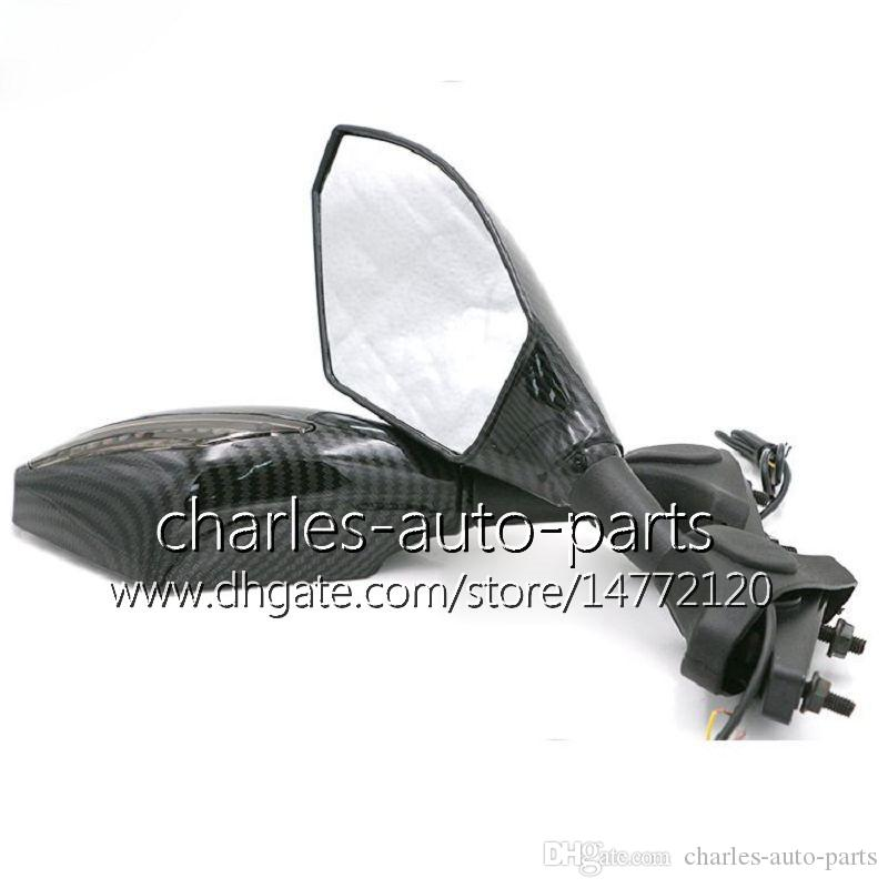 Uniwersalny Motocykl LED Włącz Lusterka Sygnalizacyjna Włącz Light Lustro Czarny Węgla LED Turning Light for Honda CBR600RR CBR1000RR CBR600 F4 F4I RR