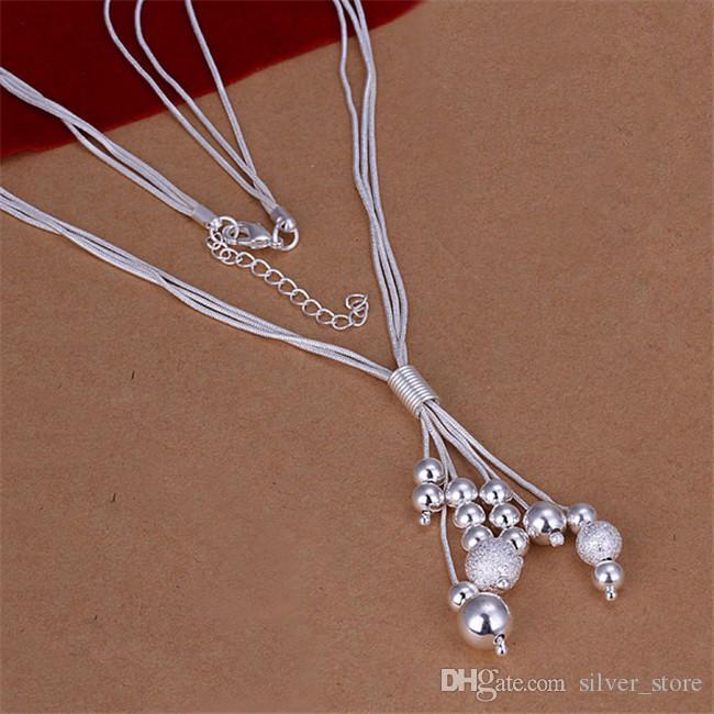 collier en argent sterling STSN186 de collier en argent sterling de trois lignes de chaîne, vente en gros de mode en argent 925 chaînes vente directe d'usine de collier