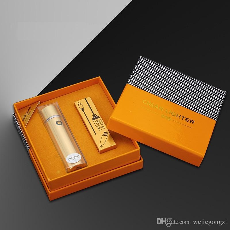 High Quality 6 Arc Electronic Cigarette Lighter For Men USB Lighter Large-capacity Charge top grade Cigar Cigarette Lighter 4 colours