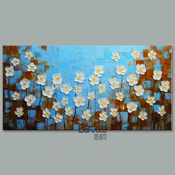Modern Simple White Flowers Painting Pure Hand Painted Oil Painting on Canvas Wall Art Decoration Home Living Room Gift