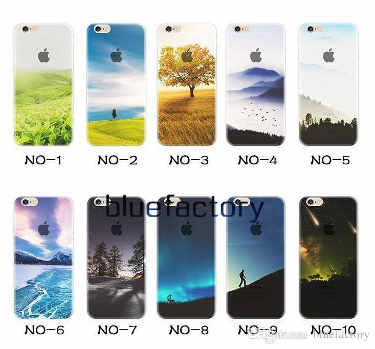 For iphone 7 Half Clear TPU Scenery Case Lightning Starry Sky Meteor Mountain City Tower Ocean View Back Phone Skin Soft Cover for iphone 6