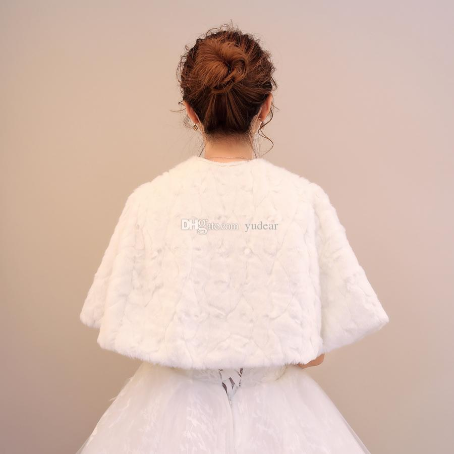 Alta qualità 2019 caldo pelliccia sintetica avvolge da sposa avorio pelliccia morbida mantello consegna veloce mezza maniche divise principessa bolero economici giacche ragazza bolero