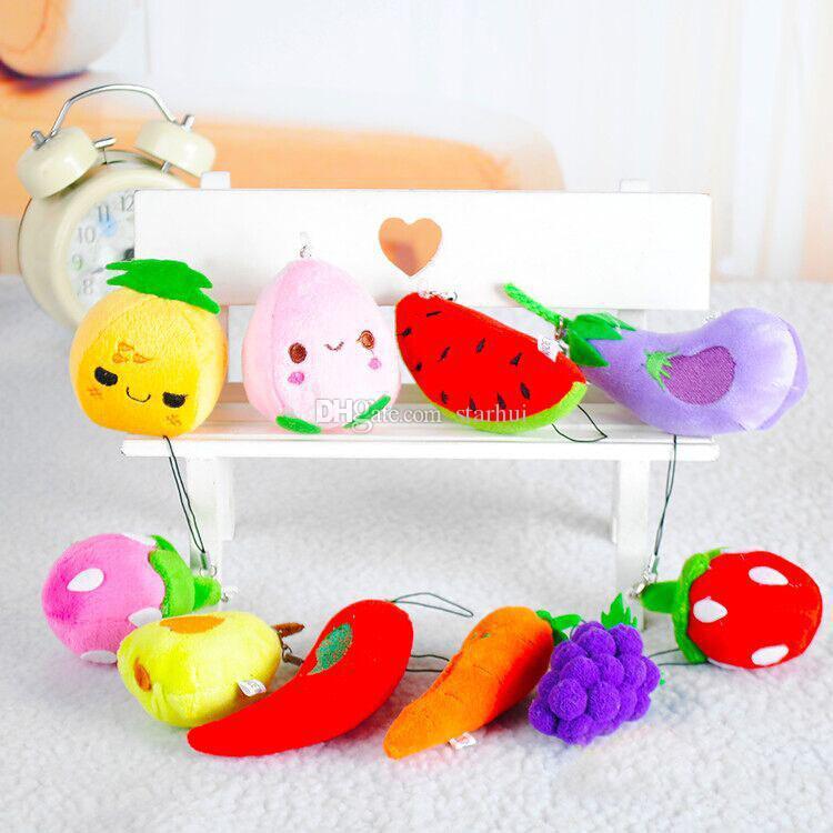 Nouveaux Fruits Légumes Conceptions En Peluche Pendentif Jouets Enfants Enfants Pendentif de Voiture Téléphone portable Sac Porte-clés Porte-clés XMAS Cadeaux 6-13 cm WX-K40