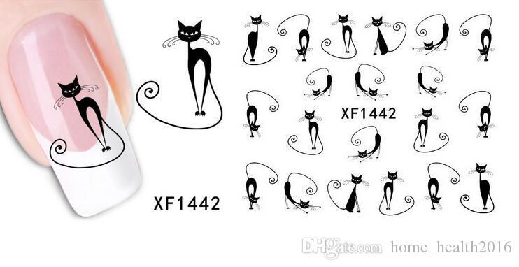 2016 nuovo 3D Sticker Black Cat Halloween Nail Art Water Transfer Diapositive Decalcomanie Sticker spedizione gratuita