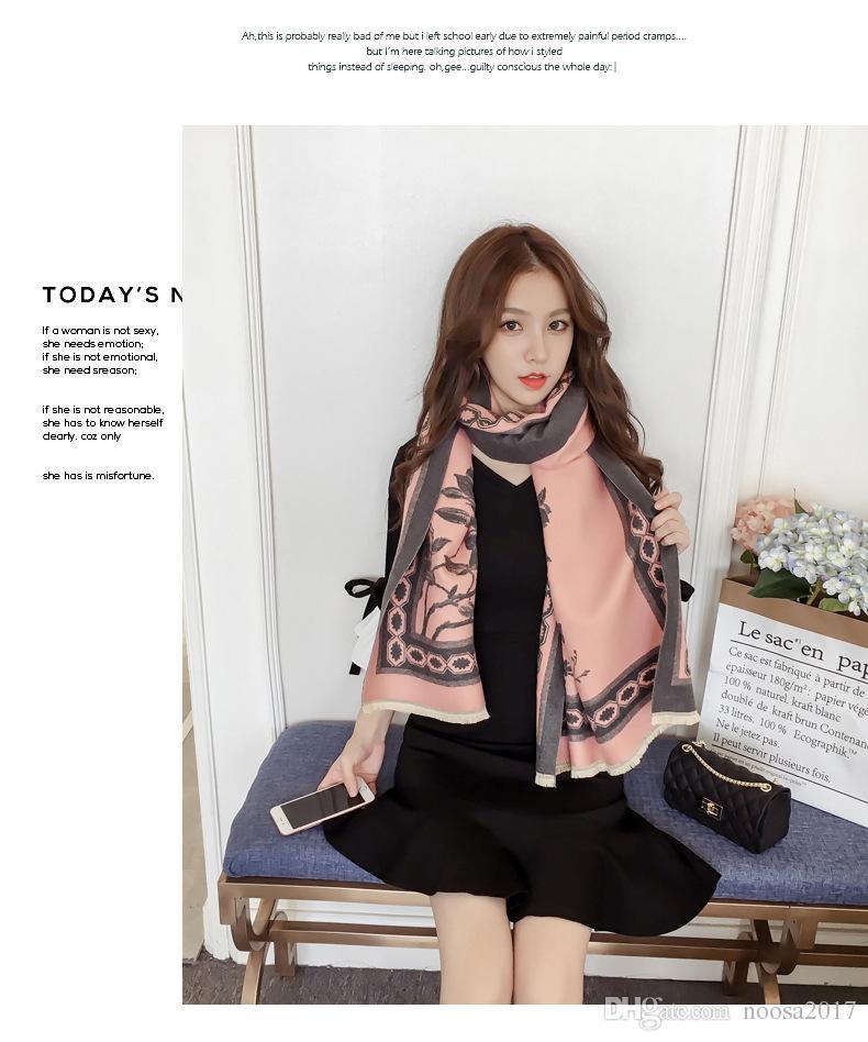 Luxury imitation cashmere scarf Winter Pashmina Scarf Women Brand Infinity Romantic couple print soft warm double sided Shawls size 195x65cm