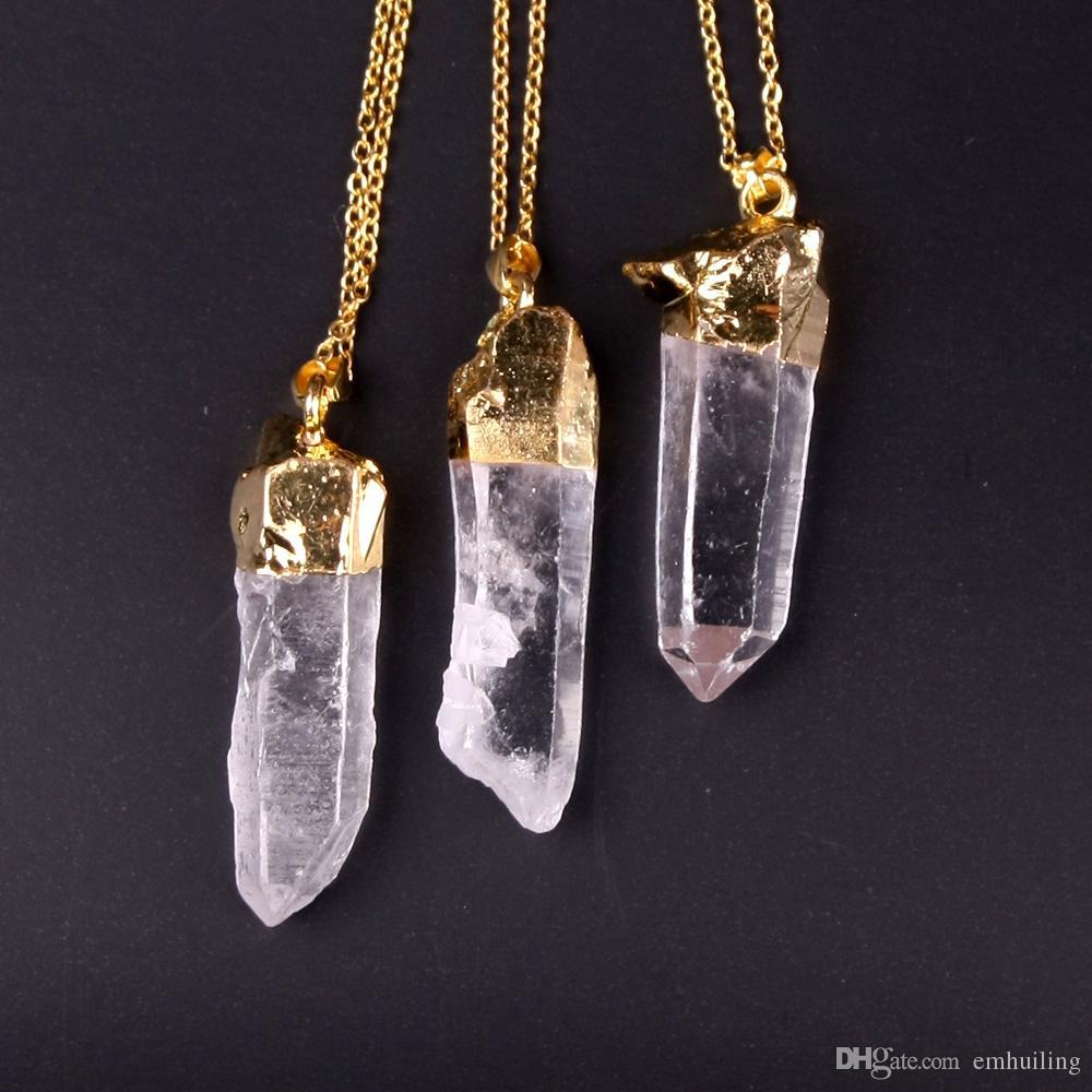 Healing Reiki Pendant Natural Druzy Stone Quartz Pendant Unisex Gold Plated Nature White Crystal Cluster Point Healing Rock Necklace Hottest