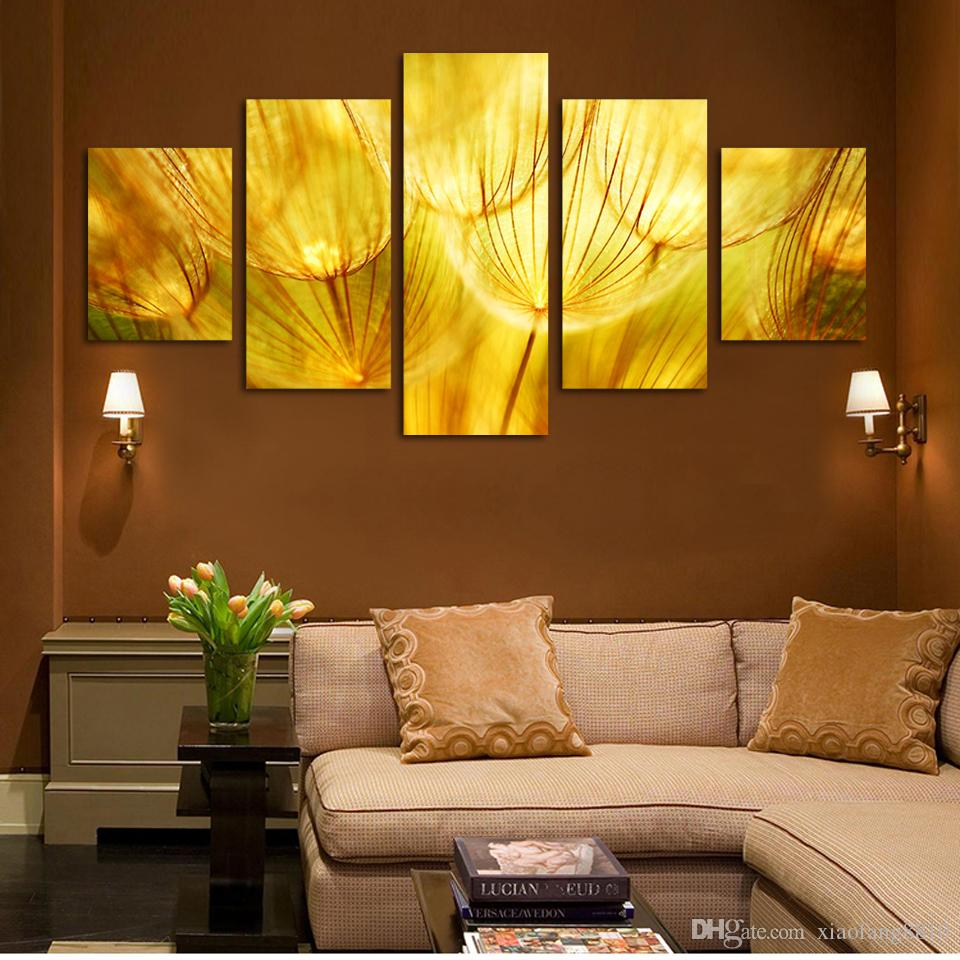 Online Cheap 5 Panel Wall Art Gold Flower Oil Painting On Canvas ...