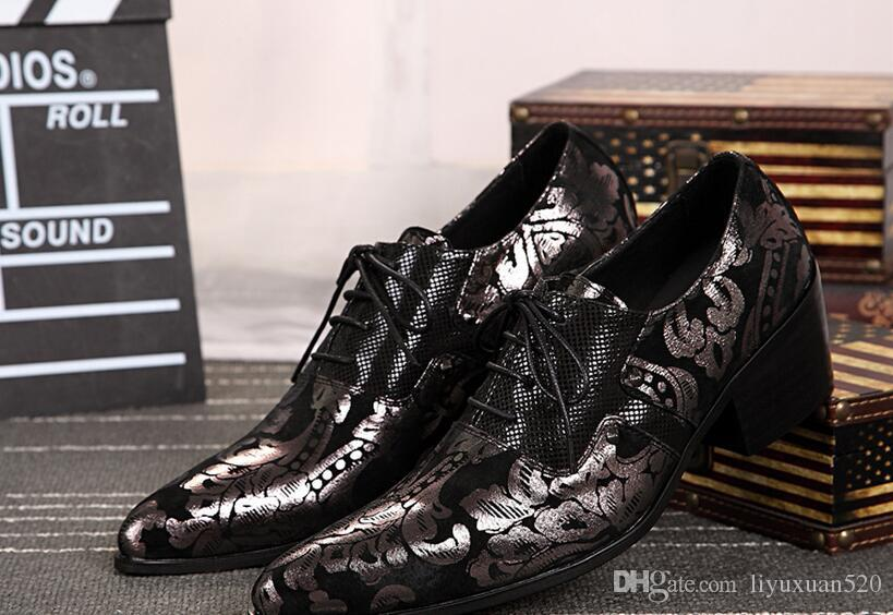 Gold Deep Purple Oxford Shoes For Men New Genuine Leather Dress