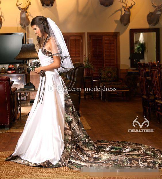 Gorgeous Camo Western Country Wedding Dresses 2019 Halter Corset Back Court Train Garden Team Realtree Bridal Gowns Vestidos De Noiva Cheap
