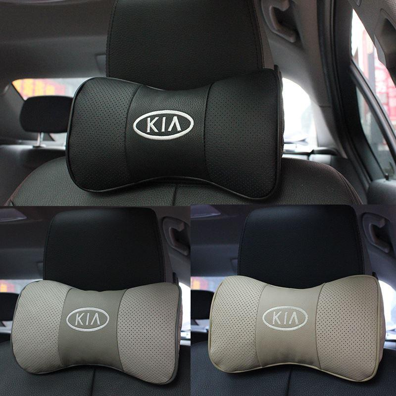 2 X Genuine Leather Headrest Neck Pillow Car Auto Seat