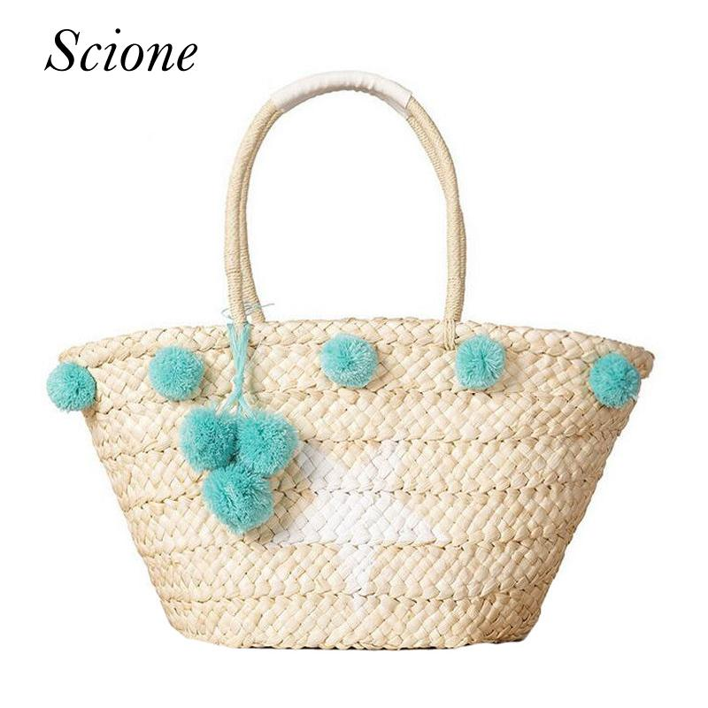 dbb1d9d98f7 Wholesale Bohemian Straw Bag Summer Beach Handbag Women Star Shopping Tote  Ful Ball Handmade Woven Travel Shoulder Bags Purse Bolsa 131084 Leather Bags  For ...