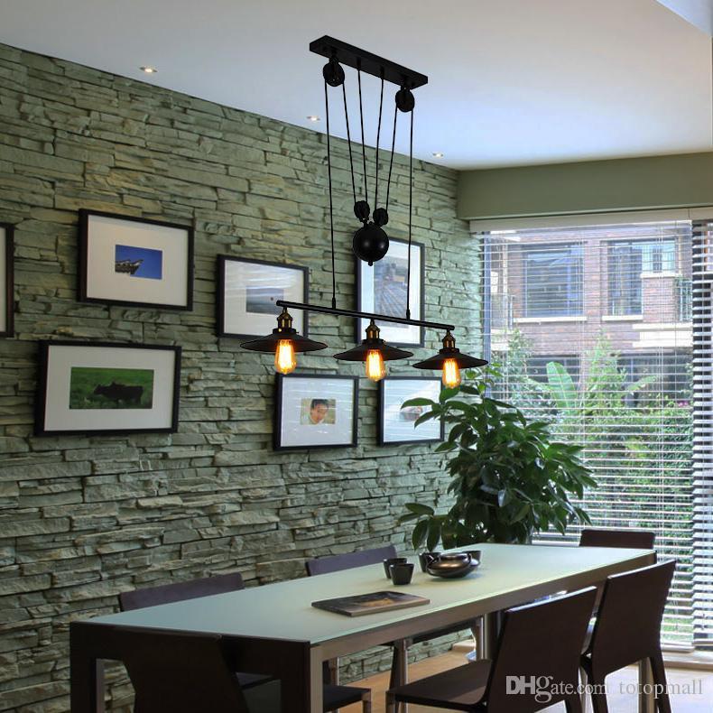 Discount Kitchen Rise U0026 Fall Pulley Pendant Lights Edison Pendant Lamp  Retro Wrought Iron Light Fixture Industrial Lamp Coffee Shop Bar Plug In  Pendant ...