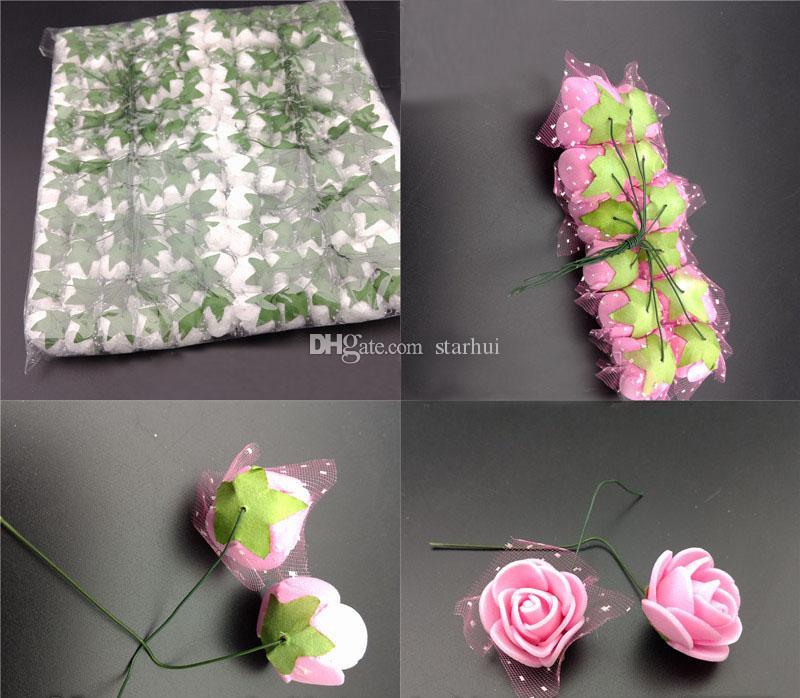/ lote flores artificiales Mini espuma rosa flor ramo jardín boda fiesta decoración simulación flor cabeza regalo navidad wx9-71
