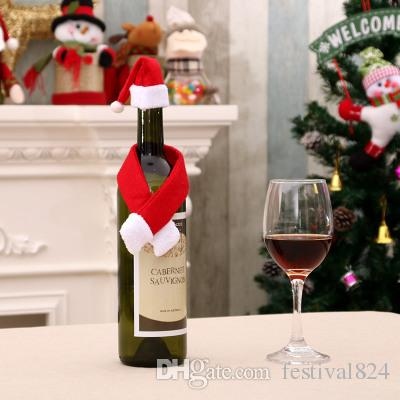 2018 new year wine bottle cover little hat scarf set for christmas bottle decorations kids gift merry christmas bar table decor supplies christmas