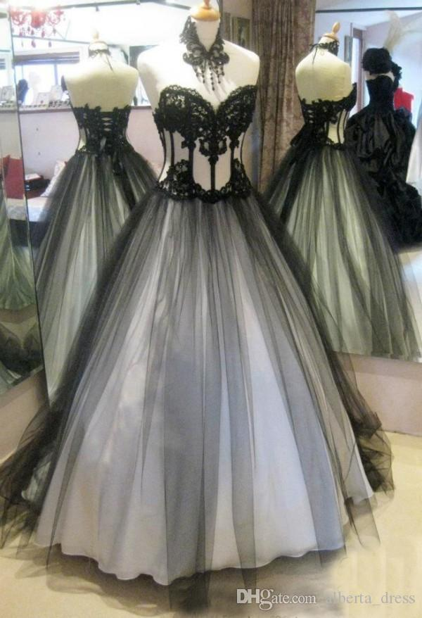 2015 Victorian Gothic Wedding Dresses Real Image High Quality Black and White Bridal Gowns Lace Appliques Soft Tulle Lace-up Back Vintage
