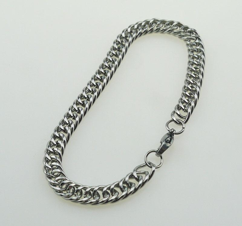Livraison gratuite 304 chaîne en acier inoxydable rétro entrelacé double tour collier bracelet costume acier homard fermoir