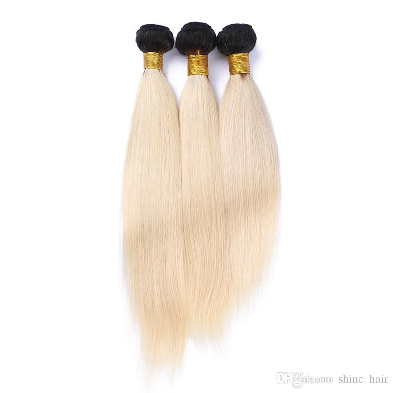 Brazilian Blonde Ombre Human Hair 3Bundles With Closure #1B/613 Blonde Two Tone Ombre Weaves With Silky Straight 4x4 Lace Closure